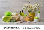 spa composition with daisy... | Shutterstock . vector #1126238402