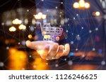 shopping cart with a mechanism .... | Shutterstock . vector #1126246625
