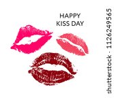 happy kiss day. lips pomade... | Shutterstock .eps vector #1126249565