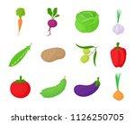 vegetables icon set. cartoon... | Shutterstock . vector #1126250705