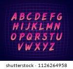 80s retro futurism style font.... | Shutterstock .eps vector #1126264958