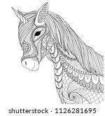 unicorn for coloring book page... | Shutterstock .eps vector #1126281695