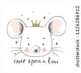 cute bear with crown.cartoon... | Shutterstock .eps vector #1126286912