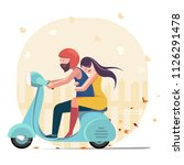 loving couple riding scooter....   Shutterstock .eps vector #1126291478