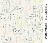 seamless patter with cute cats... | Shutterstock .eps vector #1126301312