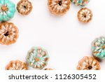 shiny gold and blue pumpkins....   Shutterstock . vector #1126305452