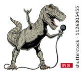 dinosaur rock singer holding... | Shutterstock .eps vector #1126305455