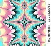 Vertical Teal And Pink Fractal