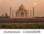 sunset over the taj mahal  agra ... | Shutterstock . vector #1126320698