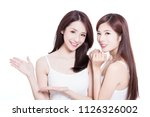 two beauty skincare woman show... | Shutterstock . vector #1126326002