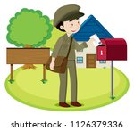 a postman delivery letter... | Shutterstock .eps vector #1126379336