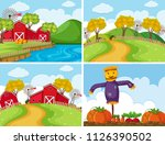 set of farm scenes illustration | Shutterstock .eps vector #1126390502