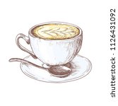 sketch cup of coffee latte with ... | Shutterstock .eps vector #1126431092