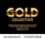 vector luxury gold alphabet... | Shutterstock .eps vector #1126441868