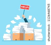 busy businessman with pile of... | Shutterstock .eps vector #1126468745
