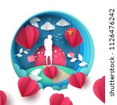 man and woman love illustration.... | Shutterstock .eps vector #1126476242