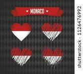 monaco heart with flag inside.... | Shutterstock .eps vector #1126476992
