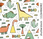 childish seamless pattern with... | Shutterstock .eps vector #1126486082