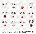 comic emotions. women facial... | Shutterstock .eps vector #1126487822