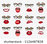 comic emotions. woman with... | Shutterstock .eps vector #1126487828