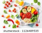 vegan buddha bowl. healthy...   Shutterstock . vector #1126489535