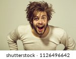 morning of the man. surprised... | Shutterstock . vector #1126496642