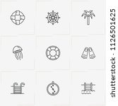 sea line icon set with compass  ... | Shutterstock .eps vector #1126501625