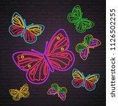 butterfly set icon neon light... | Shutterstock .eps vector #1126502255
