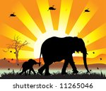 Family Of Elephants On Nature...