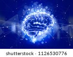 human brain on a color... | Shutterstock .eps vector #1126530776