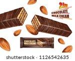 milk chocolate bar flavor and... | Shutterstock .eps vector #1126542635