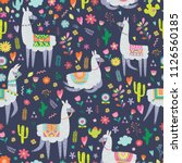 seamless pattern with llama ... | Shutterstock .eps vector #1126560185