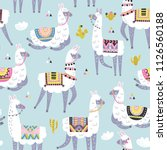 seamless pattern with llama ... | Shutterstock .eps vector #1126560188