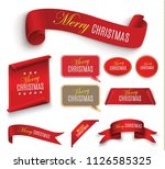 scroll red  merry christmas.... | Shutterstock .eps vector #1126585325