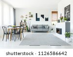 real photo of a grey sofa...   Shutterstock . vector #1126586642