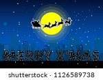 santa claus sleigh with... | Shutterstock .eps vector #1126589738
