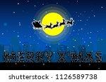 santa claus sleigh with... | Shutterstock .eps vector #1126589738