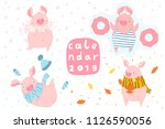 creative postcard for new 2019... | Shutterstock .eps vector #1126590056