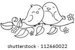 Love Birds Sitting On The...