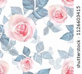 delicate roses. hand drawn... | Shutterstock . vector #1126603415