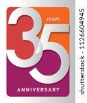 35 years old celebrating modern ... | Shutterstock .eps vector #1126604945