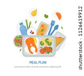 packaging of meals in advance.... | Shutterstock .eps vector #1126619912