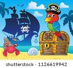 pirate parrot on treasure chest ...   Shutterstock .eps vector #1126619942