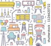 scandinavian furniture seamless ... | Shutterstock .eps vector #1126620722