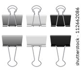 Gray Binder Clips. Illustratio...