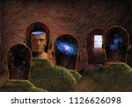 surreal painting. minds. 3d... | Shutterstock . vector #1126626098