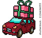 vector pixel art christmas car...   Shutterstock .eps vector #1126636055