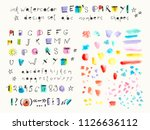 hand drawn ink and watercolor... | Shutterstock .eps vector #1126636112