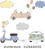 wedding vector car and scooter... | Shutterstock .eps vector #1126636532