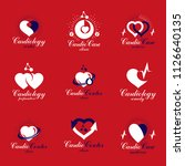red heart shapes made using ecg ... | Shutterstock .eps vector #1126640135